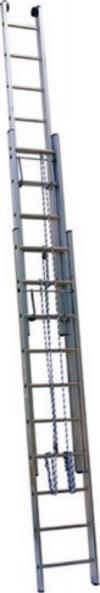 АЛЮМЕТ (ALUMET) Лестница выдвижная трехсекционная АЛЮМЕТ 3315 3х15 с тросом