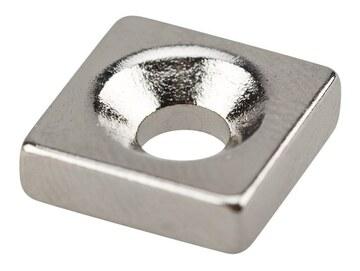 Магнит Неодимовый магнитный прямоугольник 10х10х3 мм с зенковкой 6х3,5 мм (упаковка 3 шт.) (72-3700)