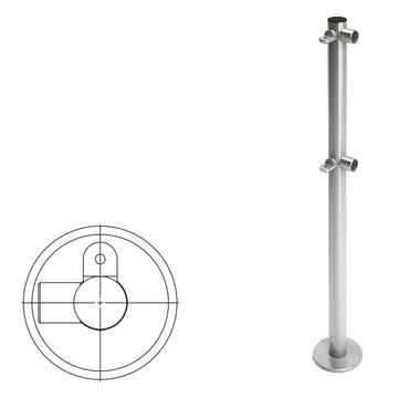 OXGARD Стойка ограждения с 2-мя полупетлями L-образная правая