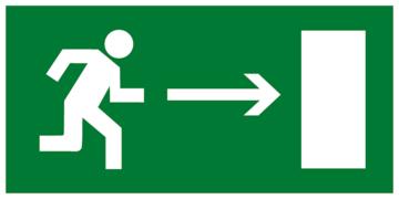 Знак безопасности Знак E03 Направление к эвакуационному выходу направо (Пластик фотолюм (не гост) 150х300х2 мм)