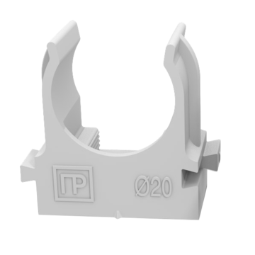 Держатель Крепеж-клипса для труб для монтажного пистолета серая в п/э д20 (100шт/900шт уп/кор) Промрукав (PR13.0120)
