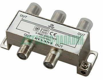 Rexant ДЕЛИТЕЛЬ ТВ х 4 под F разъём 5-1000 МГц REXANT (05-6003)