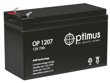Аккумуляторная батарея Аккумулятор 12В 7 А∙ч (OP 1207)