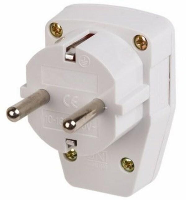PROconnect Вилка угловая с/з с кнопкой белая 16А PROCONNECT (11-8530)
